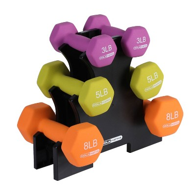 HolaHatha Hex Dumbbell Weight Training Home Gym Equipment Set with 3, 5 and 8 Pound Fitness Hand Weights and Storage Organization Rack