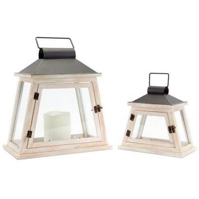 Melrose Set of 2 Cottage-Style Distressed White and Black Pillar Candle Lanterns