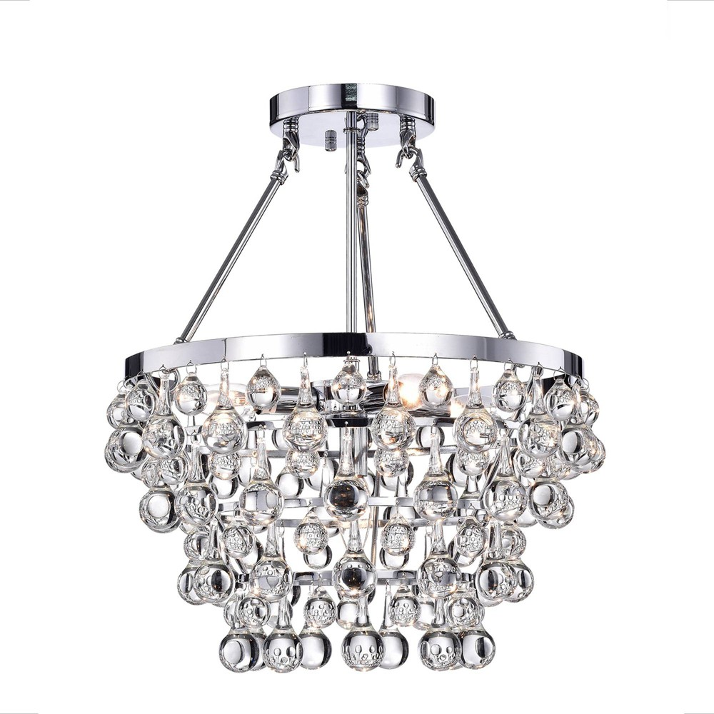 """Image of """"16"""""""" x 16"""""""" x 16"""""""" Crystal Grand Chandelier Silver - Warehouse of Tiffany"""""""