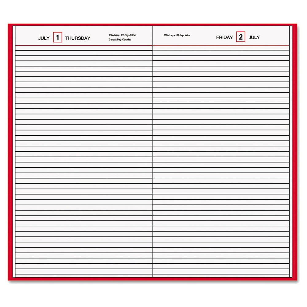 At-A-Glance Standard Diary Recycled Daily Diary - Red, Red/White