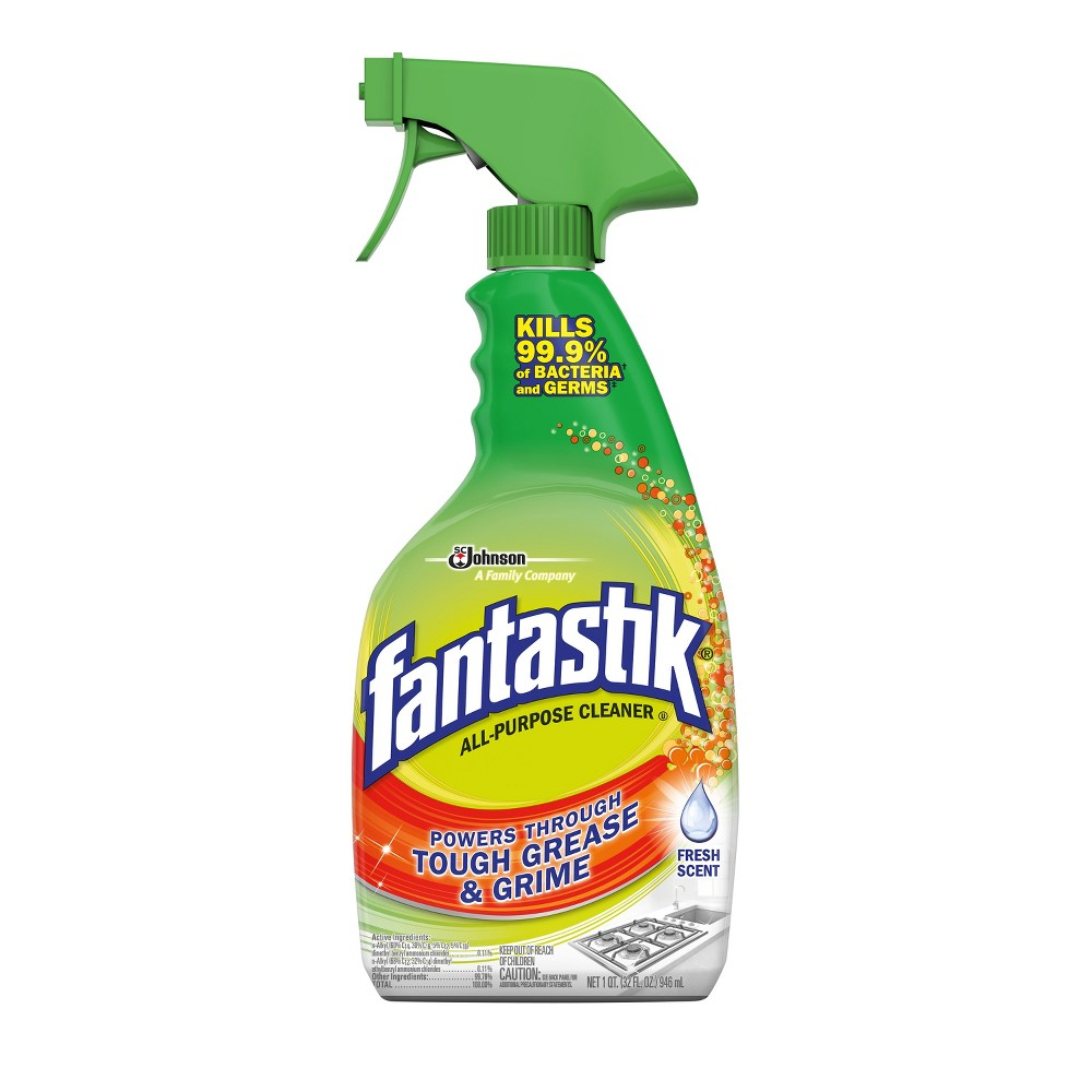 Scrubbing Bubbles with Fantastik Heavy Duty All Purpose Cleaner Fresh Scent 32oz Suddenly everything's under control. Our heavy duty, multi-purpose cleaner kills 99.9 percent of bacteria as it cleans*, cleans 2X better than Clorox Clean-Up**, and kills the viruses that causes the common cold, flu and Pandemic 2009 H1N1 influenza A virus (formerly called swine flu). It also wipes out tough grease and grime to keep your kitchen cleaner. Plus, it leaves a fresh scent behind with no smeary residue. Directions FOR Use: General Household Cleaning: Spray product onto soiled surfaces and wipe with a dry paper towel or lint-free cloth. No scrubbing or rinsing necessary. TO Sanitize AND Deodorize Hard, Non-Porous Surfaces: Spray until thoroughly wet. Let stand 10 seconds. Then wipe. For heavily soiled areas or surfaces, a precleaning is required. TO Inhibit Mold AND Mildew ON Hard, Non-Porous Surfaces: Pre-clean first. Spray until thoroughly wet. Allow surface to remain wet for 3 minutes. Then wipe. Reapply at weekly intervals or when new growth appears. Rinse food contact surfaces with tap water. Unplug electrical appliances before using. Uses: This product works great on: Cabinets, Countertops, Microwave Exteriors, Refrigerator Exteriors, Bathroom Surfaces, Chrome Fixtures, Glass, Glazed Ceramic Tile, Walls, Porcelain Surfaces, Linoleum Floors, Appliances (Exterior Surfaces), Stovetops