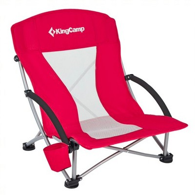 KingCamp Beach Camping Folding Lounge Chair w/ Mesh Back & Foam Arm Rest