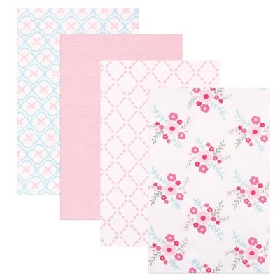 Luvable Friends Unisex Baby Cotton Flannel Receiving Blanket - Floral One Size 4pc