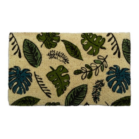 """TAG 1'6"""" x 2'6"""" Foliage Coir Doormat Indoor Outdoor Welcome Mat Leaves Floral - image 1 of 4"""