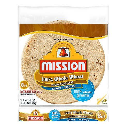"Mission® 100% Whole Wheat Large Flour Tortillas 10"" - 8ct - image 1 of 1"