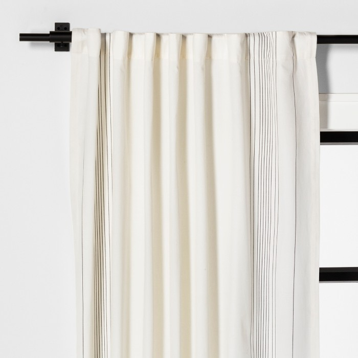 Curtain Panel Engineered Plaid Sour Cream - Hearth & Hand™ with Magnolia - image 1 of 5