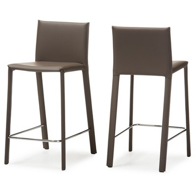 Beau Crawford Modern And Contemporary Leather Upholstered Counter Height Stool    Taupe   Baxton Studio : Target