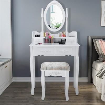 Costway Vanity Wood Makeup Dressing Table Stool Jewelry Desk 4 White