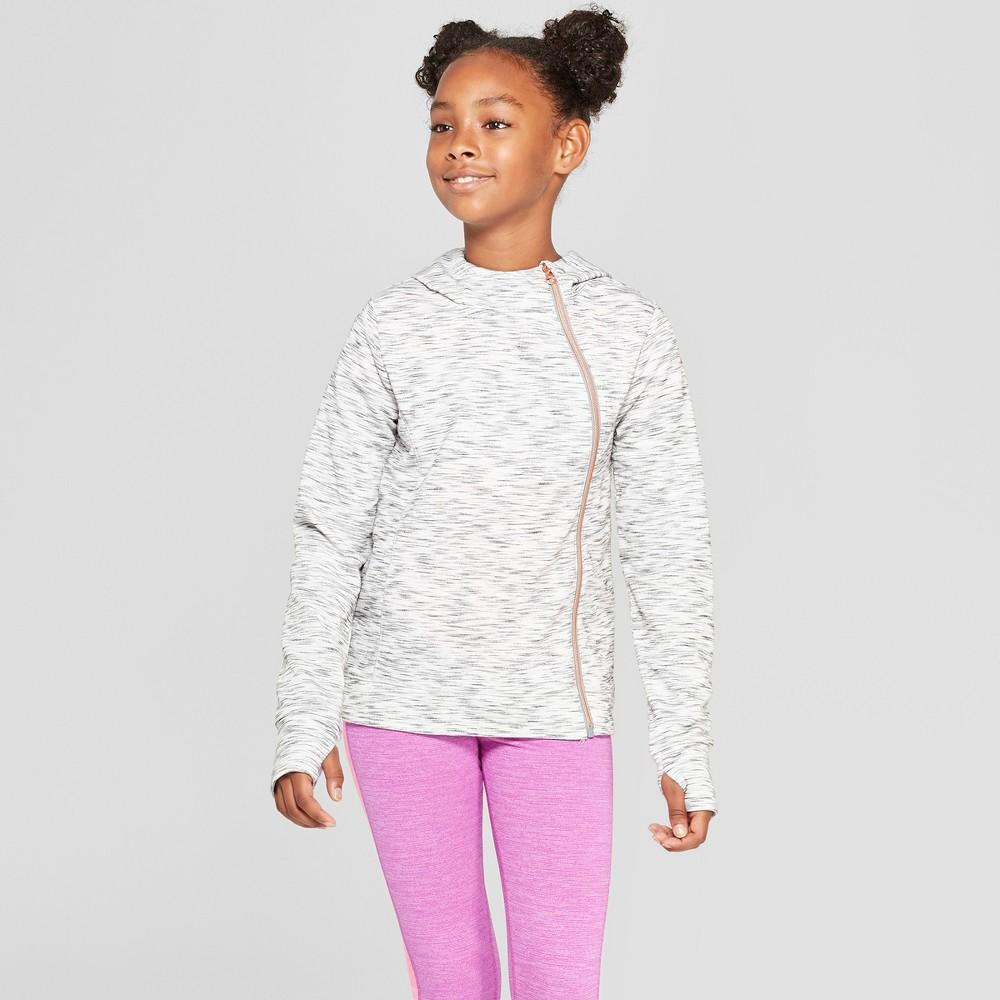 Girls' Plush Fleece Asymmetrical Full Zip Hoodie - C9 Champion Gray Heather S