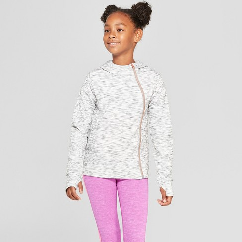 Girls' Plush Fleece Asymmetrical Full Zip Hoodie - C9 Champion® - image 1 of 3