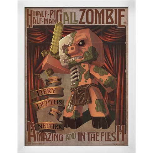 Minecraft - Zombie Pigman, White Wood Framed Poster - image 1 of 3