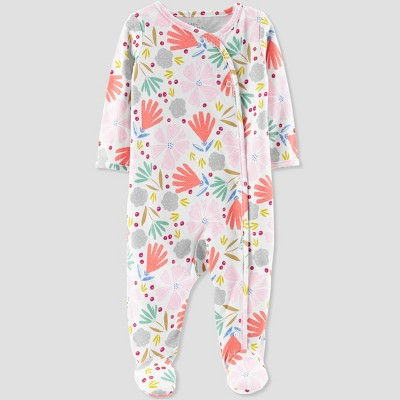 Baby Girls' Floral Print Sleep 'N Play - Little Planet by Carter's Coral Newborn