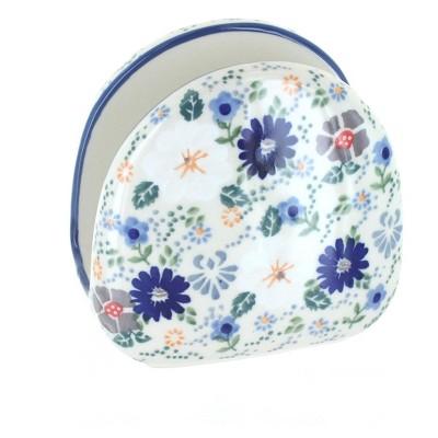 Blue Rose Polish Pottery Carnival Napkin Holder