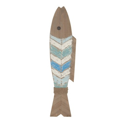 """10"""" x 44"""" Coastal Wooden Fish Wall Decor - Olivia & May"""