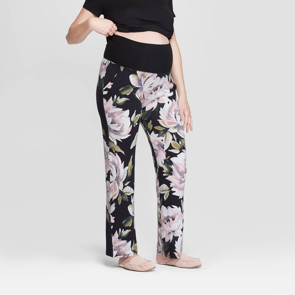 Women's Floral Print Beautifully Soft Postpartum Pajama Pants - Stars Above Black L