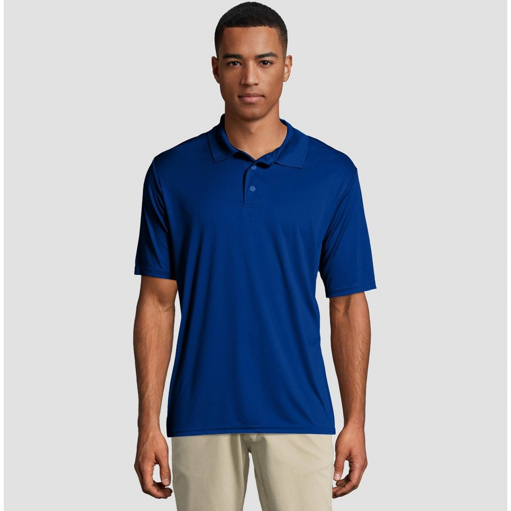 f4a1f041 Hanes Mens Short Sleeve CoolDRI Pique Polo Shirt Deep Blue L