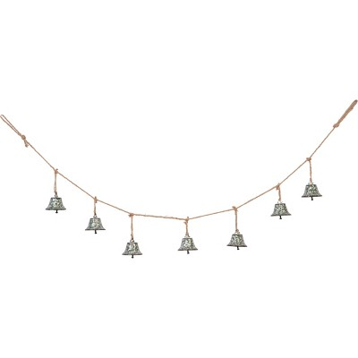 Transpac Metal 56 in. Silver Christmas Bell Banner