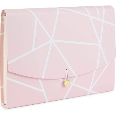 Paper Junkie Pink Geometric Expanding File Folder Organizer with 10 Pockets (Letter Size)