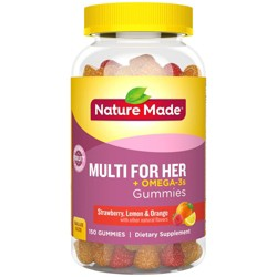 Nature Made Women's Multivitamin + Omega-3 Gummies - Strawberry, Lemon & Orange - 150ct
