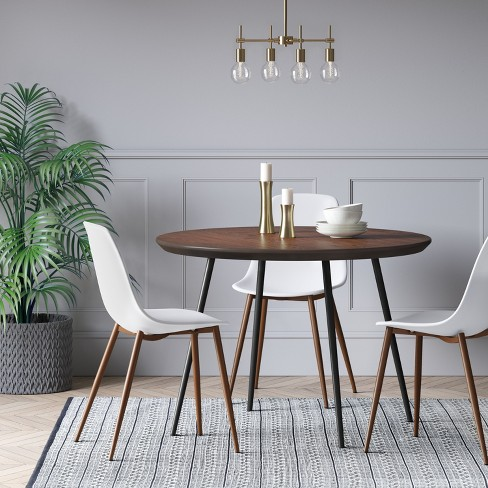 Copley Dining Table Wood Top With Metal Legs Walnut