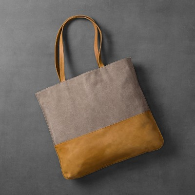 Canvas & Leather Tote Bag - Gray/Tan - Hearth & Hand™ with Magnolia