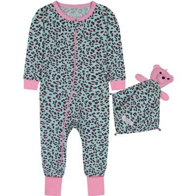 Sleep On It Infant Girls Zip-Front Leopard Onesie