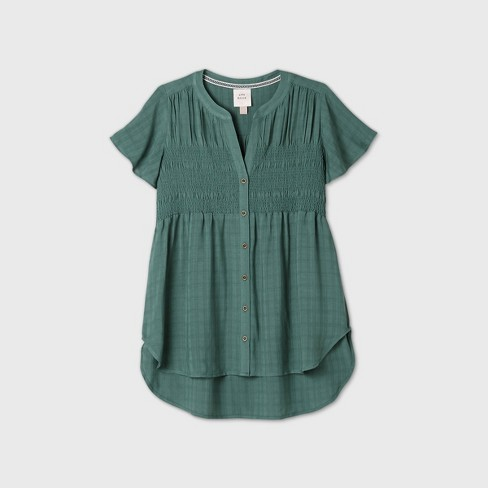 Women's Short Sleeve Smocked Button-Front Top - Knox Rose™ - image 1 of 4