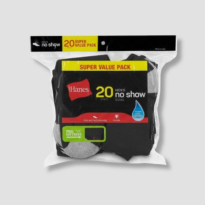 Hanes Men's No Show Super Value Socks 20pk - 6-12