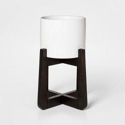 Ceramic Planter With Stand White/Brown - Project 62™