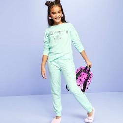 "Girls' ""Sleepover Vibes"" Long Sleeve Pajama Set - More Than Magic™ Green"