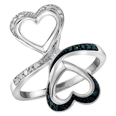 Women's Sterling Silver Round-Cut Blue and White Diamond Prong Set Double Heart Ring - White