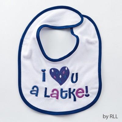 "Rite Lite 11.5"" Hanukkah ""I Love You A Latke"" Bib - Blue/White"