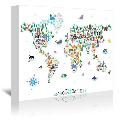 Americanflat Animal World Map by Elena David Canvas