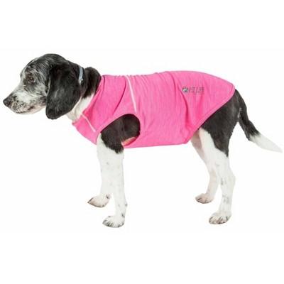 Pet Life Active 'Aero-Pawlse' Heathered Quick-Dry Dog and Cat Tank Top - Pink - S