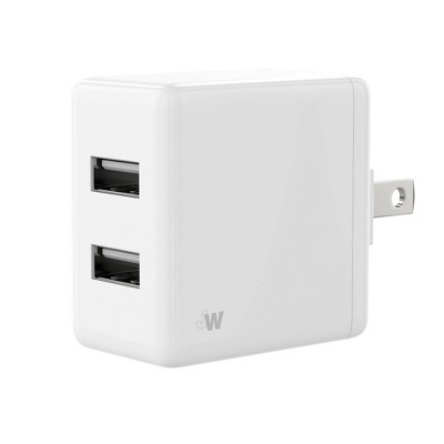 Just Wireless 2-Port USB 2.4A Wall Charger - White