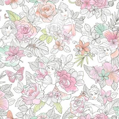 Disney Princess Royal Floral Peel and Stick Wallpaper - RoomMates