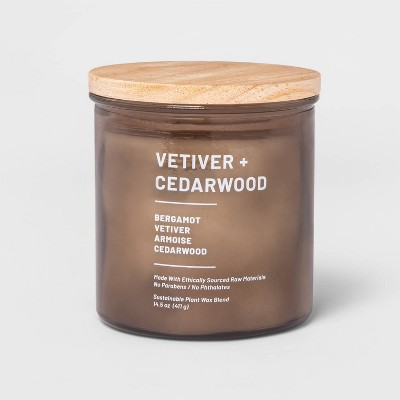 14.5oz Lidded Glass Jar 3-Wick Wellness Candle Vetiver & Cedarwood - Project 62™