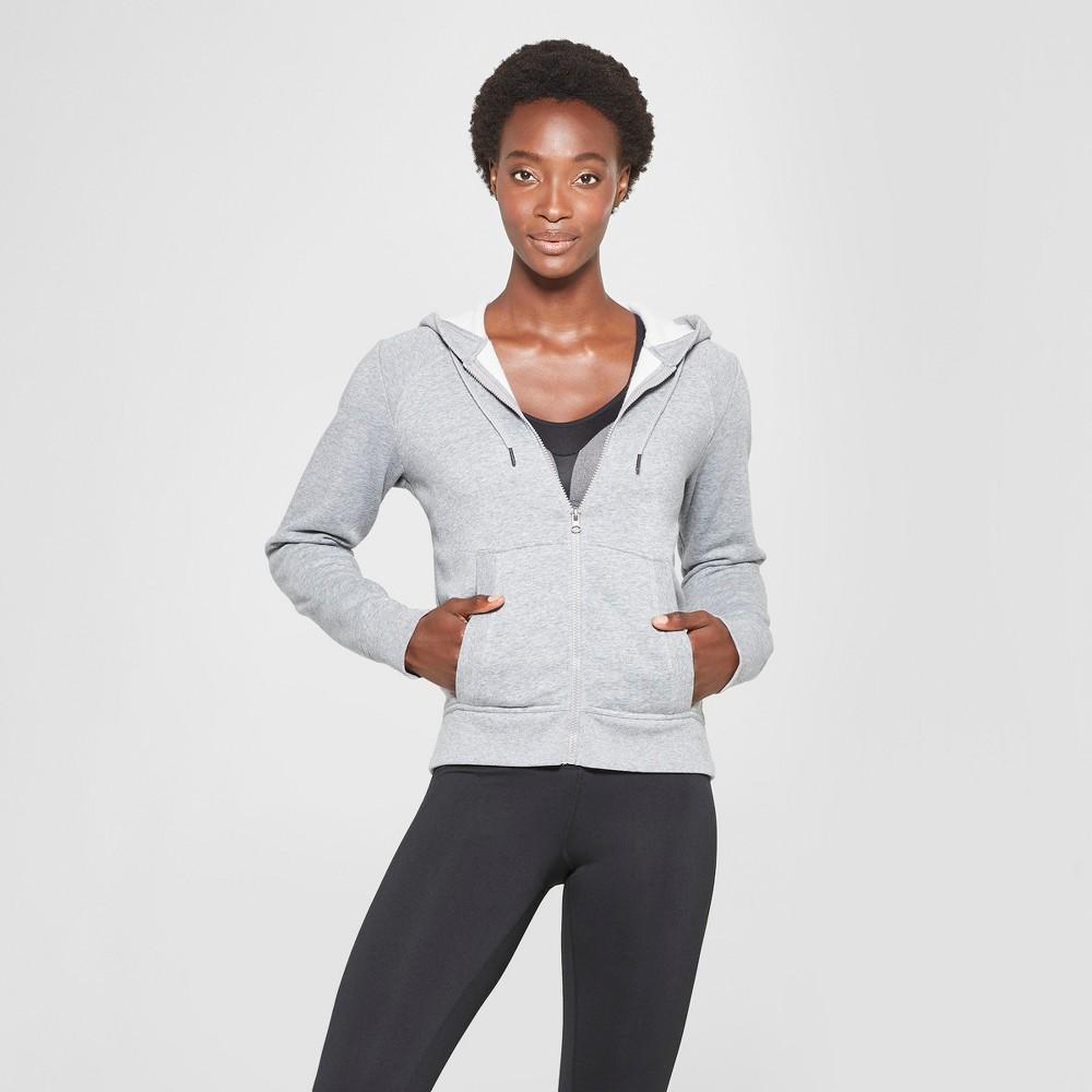 Women's Authentic Fleece Sweatshirt Full Zip-Up - C9 Champion Heather Gray L
