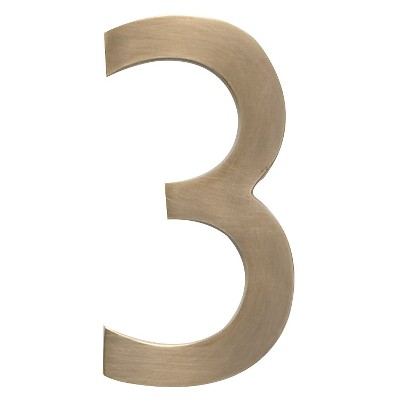 Architectural Mailbox 4  Cast Floating House Number 3 Antique Brass
