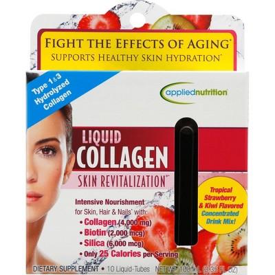 Applied Nutrition Liquid Collagen Skin Revitalization Liquid Drink Mix - Tropical Strawberry & Kiwi - 10ct