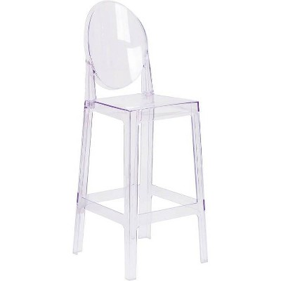 Ghost Barstool In Transparent Crystal with Oval Back Transparent Crystal - Riverstone Furniture Collection
