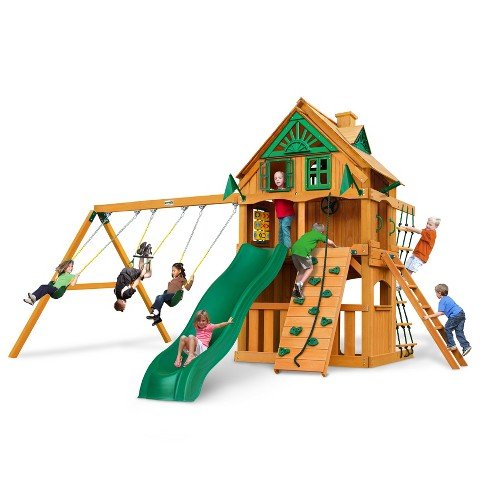 Gorilla Playsets Chateau Clubhouse Treehouse Swing Set with Fort Add-On & Amber - image 1 of 4