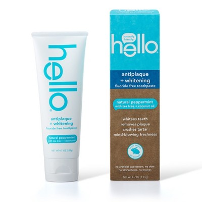 hello Antiplaque and Whitening Fluoride Free Toothpaste , sls Free and Vegan , 4.7oz