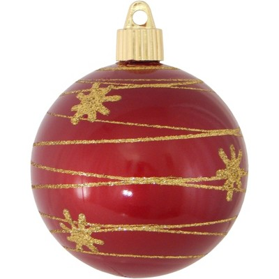 "Christmas by Krebs 4ct Candy Red Tangles and Flakes Shatterproof Shiny Christmas Ball Ornaments 3.25"" (80mm)"