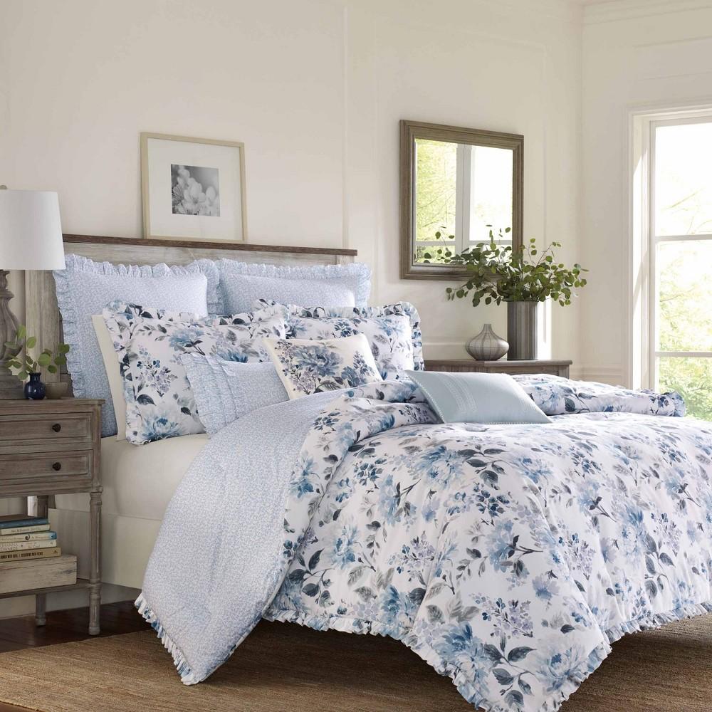 Laura Ashley Twin Chloe Comforter Set Blue