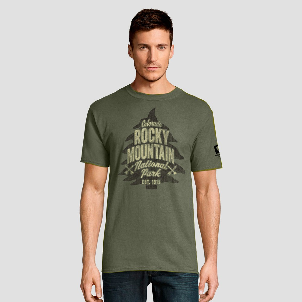 Hanes Men's Short Sleeve National Parks Rocky Mountain Graphic T-Shirt - Light Olive 2XL, Green