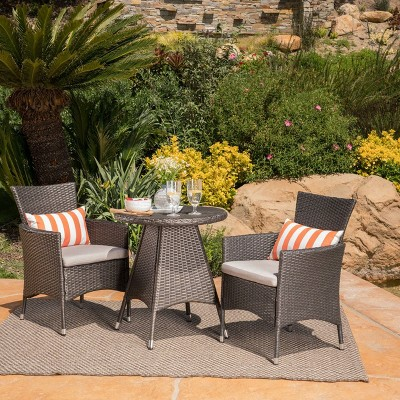 Melissa 3pc Wicker Patio Bistro Set with Cushions - Gray - Christopher Knight Home