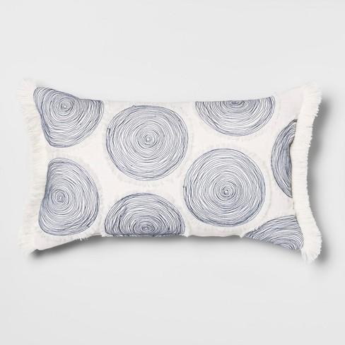 Applique Circles Lumbar Throw Pillow White/Blue - Opalhouse™ - image 1 of 4
