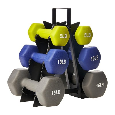 HolaHatha 5, 10, and 15 Pound Neoprene Dumbbell Free Hand Weight Set with Storage Rack, Ideal for Home Gym Exercises to Gain Tone and Definition