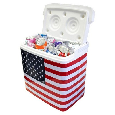 Life 3028184 Tinny Portable Retro Tin Drink Cooler, Great for Camping, BBQ, Travel, Beach, and Picnic, with USA Flag Red, White, and Blue Decoration